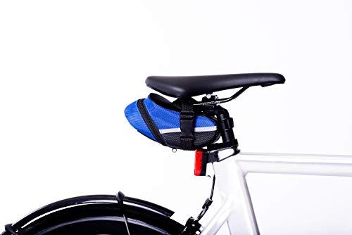 Satteltasche 1,7 L Wasserfestes Material Sattelträgertasche Kleine Fahrradtasche sicheres Fahren auch bei Nacht durch eingearbeitete Reflektoren Verschluss mit Klicksystem (Schwarz)