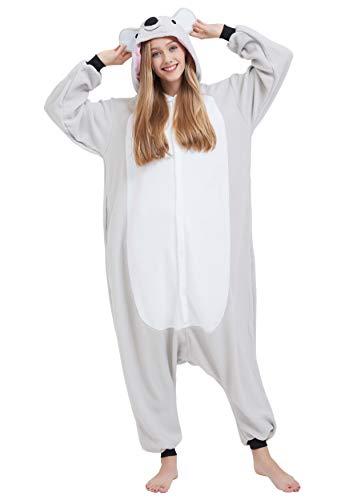 Pijama Animal Entero Unisex para Adultos con Capucha Cosplay Pyjamas Gris Koala Ropa de Dormir Traje de Disfraz para Festival de Carnaval Halloween Navidad