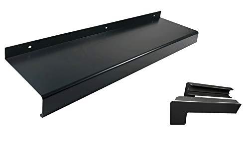 Alu Fensterbank anthrazit (Set) inkl. Aluminium Endkappen für Putz bis 2m Zuschnitt auf Maß (1000 mm, anthrazit Auslage 210 mm)