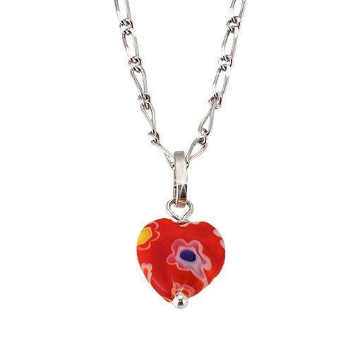 SCOUT Kinderschmuck, Collier 925 Sterling Silber, Herz aus Muranoglas 40cm