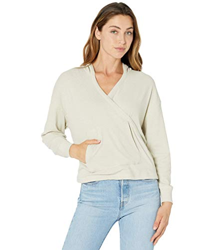 CHASER Linen Rib Long Sleeve Drop Shoulder Surplice Pullover Hoodie Rope SM