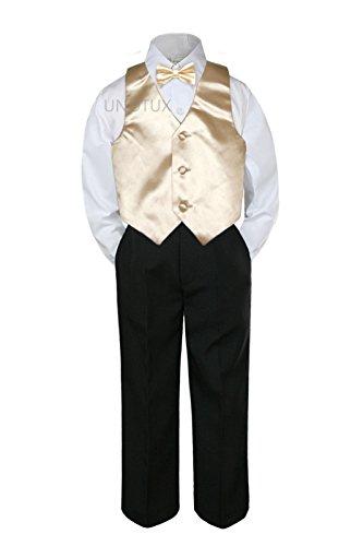 4pc Formal Baby Teens Boy Champagne Vest Bow Tie Black Pants Suit S-14 (6)