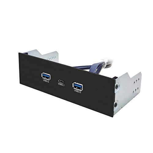 EZDIY-FAB 2-Port USB3.0 Type A + USB3.1 Type C Gen 2-5.25 Inch Front Panel USB hub[20 Pin Connector- 73 cm Cable] Metal Front Panel USB hub, USB3.1 Extender 10 Gbps High Speed Data Transfer