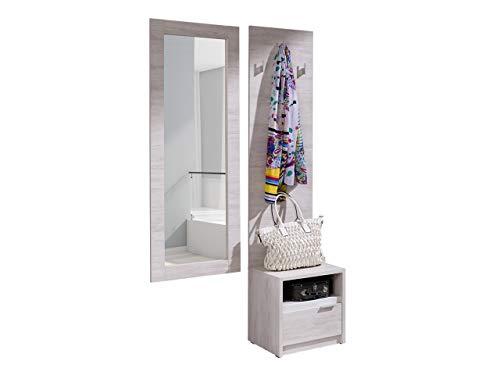 Mirjan24 Garderoben-Set Reton V Kleiderbügel, Spiegel, Schuhschrank, Wandgarderobe, Flurgarderobe (Weiße Eiche/Weiße Eiche + Weiß Hochglanz)