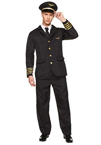 Karnival 82237 Man Airline Pilot Kostuum, Mannen, Zwart, Medium