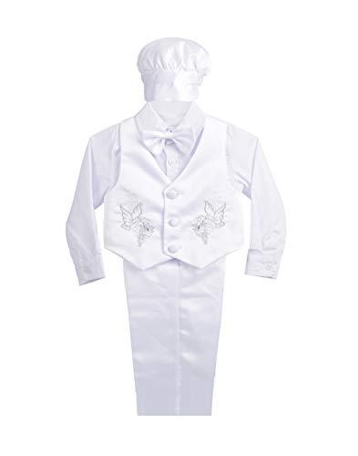 Lito Angels Vetement de Bapteme pour Bebe Garcon, Ensemble Costume Blanc 5 Pieces avec Bonnet, Manches Longues, Taille 18-24 Mois, C