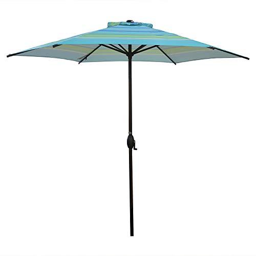 Abba Patio 9ft Striped Patio Umbrella Outdoor Umbrella Patio Market Table Umbrella with Push Button Tilt and Crank for Garden, Lawn, Deck, Backyard & Pool, Turquiose Stripe