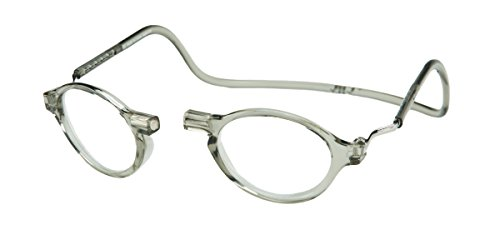 CliC Magnetic Classic Reading Glasses, Smoke, 1.25