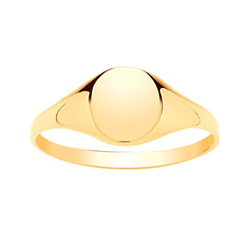 9ct Yellow Gold Boys/Girls Plain Polished OVAL Signet Ring - Engravable - 9ct Yellow Gold - Size K