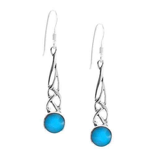 Silverly Femmes Argent .925 Boucles simulé Turquoise Celtique Nœud Pendants d'oreilles