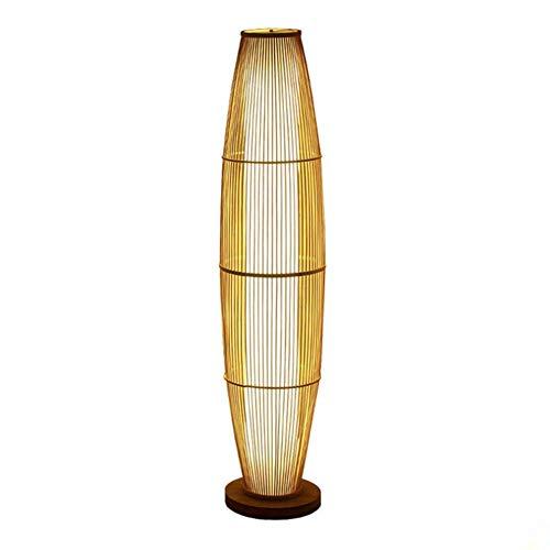 CLJ-LJ Bambú de madera simple lámpara de pie moderna de la linterna natural con imitación de piel de oveja Pantallas de iluminación de la lámpara de pie 1.3M con interruptor de pie for sala de estar d