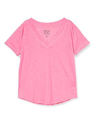 edc by Esprit Damen 030CC1K317 T-Shirt, 673/PINK 4, M