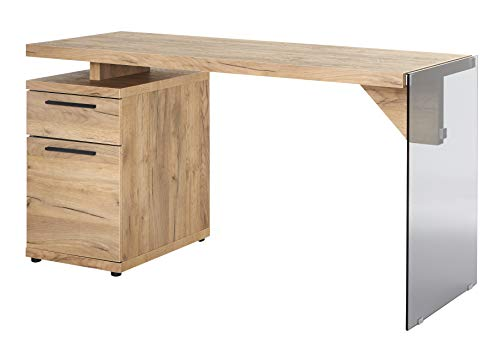 Amazon Marke -Movian Salto - Schreibtisch mit 1 Tür und 1 Schublade, 141,8x55x74cm, Kerneiche-Effekt/Graues Glas