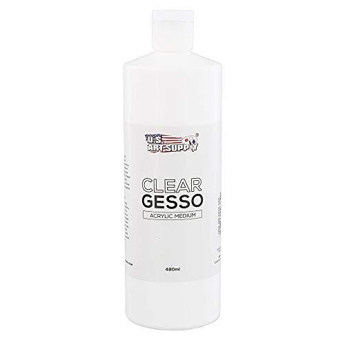 U.S. Art Supply Clear Gesso Acrylic Medium, 480ml Bottle - 16 Ounce Pint - Blendable with Acrylic Colors