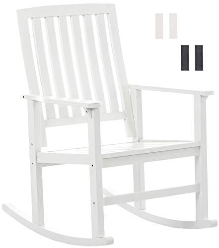 CLP Schaukelstuhl Galway aus stabilem Birkenholz im Landhausstil | Relaxsessel aus Massivholz, Farbe:weiß