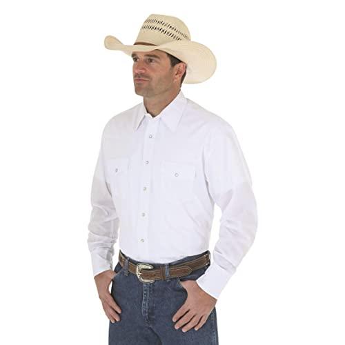 Wrangler Men's Sport Western Basic Two Pocket Long Sleeve Snap Shirt, White, XX-Large