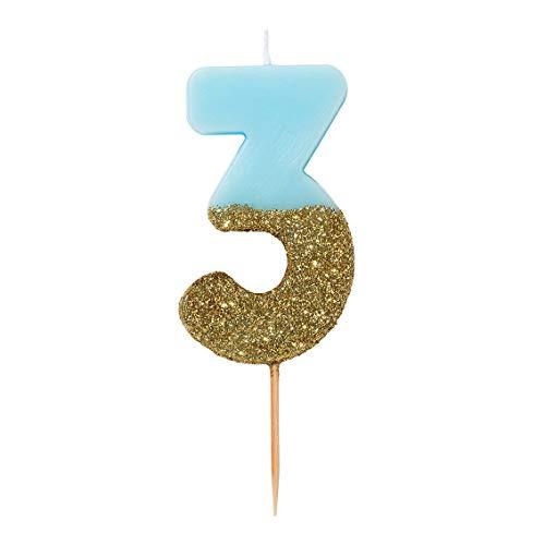 Talking Tables Geburtstagskerzen | Kerzen für Geburtstagskuchen | Kerzen blau | 3 Geburtstagskerze Cake Topper | Gold Glitzer und Blau