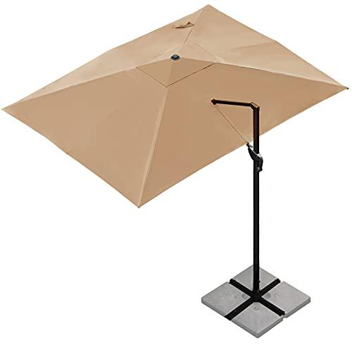 Sunnyglade 10x13Ft Cantilever Patio Umbrella Rectangular Deluxe Offset Umbrella 360°Rotation & Integrated Tilting System Patio Hanging Umbrella for Market Garden Deck Pool Backyard Patio (Tan)