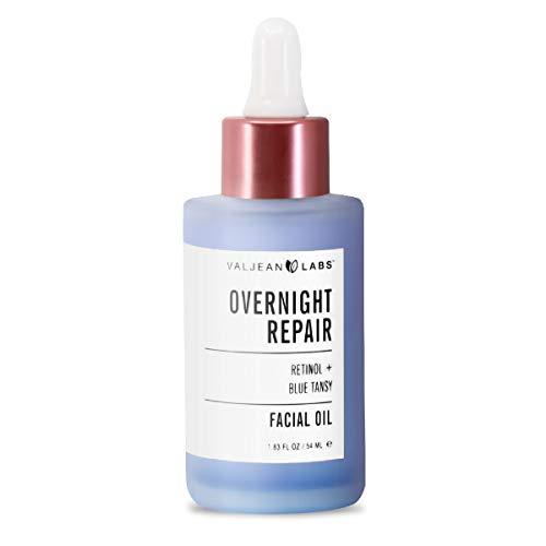 Valjean Labs durante la noche de reparación de aceite facial (retinol y tansy azul)