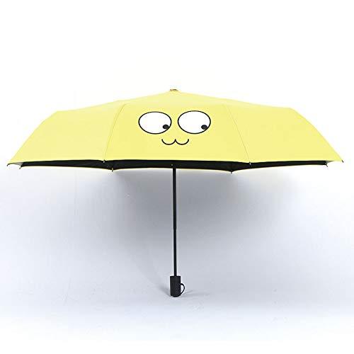 Umbrella Umbrella Girl Heart Sunny Rain Dual Plegable Parasol Sunscreen Anti-Ultraviolet Sun Umbrella Emoticons, Ojos Grandes.
