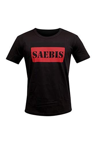 SAEBIS® Herren Red Box Logo T-Shirt   schwarz   Rundhals Ausschnitt Tshirt für ihn (L)