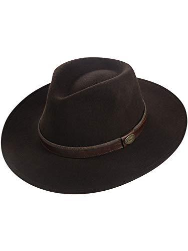 Harrys-Collection Rollbarer Hut mit breiter Krempe braunes Stoffband in 3 Farben!, Farben:Dunkelbraun, Kopfgröße:59