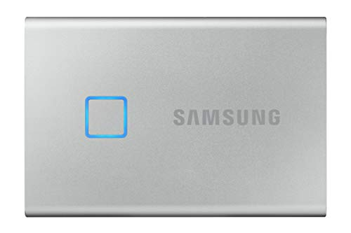 SAMSUNG T7 Touch Portable SSD 2TB - Up to 1050MB/s - USB 3.2 External Solid State Drive, Silver (MU-PC2T0S/WW)