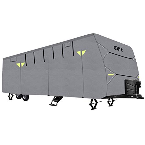 OOFIT Travel Trailer RV Cover Weather Resistant 4 Layers Non-Woven Fabric Roof Fits for 24' - 27' RVs, Breathable Waterproof Anti-UV Rip-Stop Camper Cover