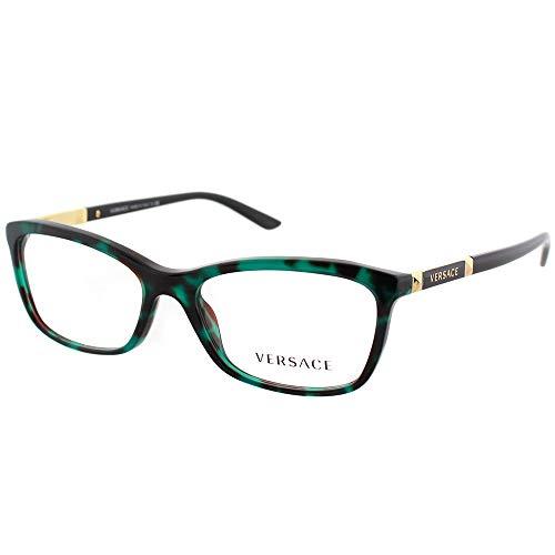Versace Damen 0Ve3186 Brillengestell, Grün/Havana/Transparent, 52