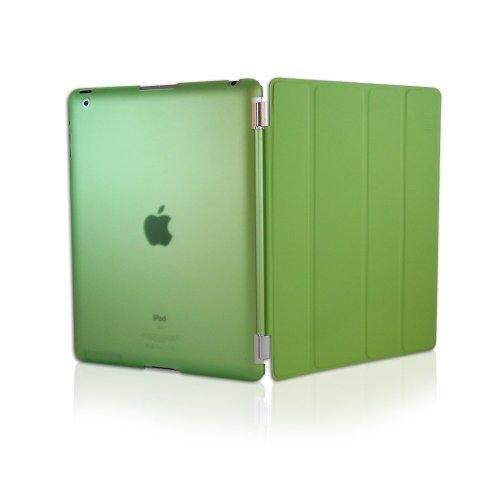 KHOMO Dual CASE Green Cover Front + Green Crystal Back Protector for Apple iPad 2, iPad 3 & iPad 4 (The New iPad HD)