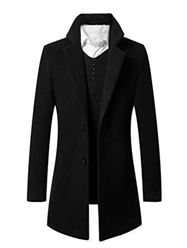 Mens Trench Coat Single Breasted 2 Buttons Long Jacket Overcoat (8811 Black,L)