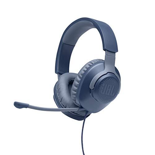 JBL Quantum 100 - Wired Over-Ear Gaming Headphones - Blue (Renewed)