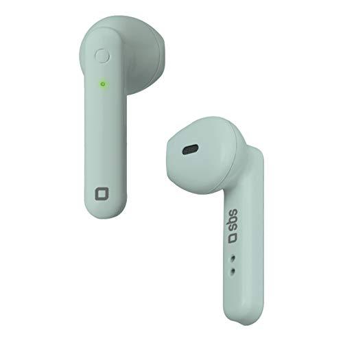 SBS Bluetooth Kopfhörer kabellos in Ear - Wireless Kopfhörer mit 2,5 Stunden Laufzeit, Mikrofon & inkl. Ladebox - Twin Buds Funkkopfhörer in grün für Apple iPhone Handy - Drahtlose Kopfhörer