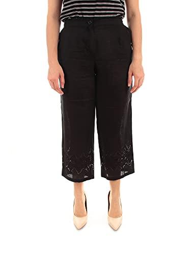 Elena Miro' Pantaloni Cropped Con ricami da Donna Nero, PA12Y0 02WZ...