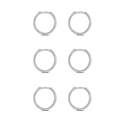 Silver Hoop Earrings for Women Girls|925 Sterling Silver Post Small Hoop Earrings|3 Pairs Huggie Hinged Cuff Earrings| Hypoallergenic Small Sleeper Hoops Earrings (4#silver-3 pair*6 mm)
