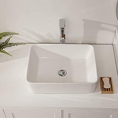 "Rectangle Bathroom Sink - Sarlai 19"" x15"" Above Counter White Porcelain Ceramic Rectangle Farmhouse Bathroom Vessel Sink Vanity Lavatory Art Basin"