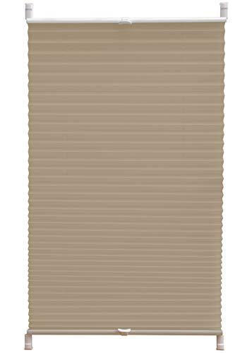 Deco4Me Plissee Klemmfix ohne Bohren 60x140cm beige Jalousie Faltrollo Fenster Tür