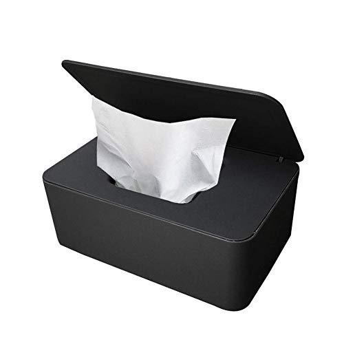 Feuchttücher-Box,Baby Feuchttücherbox,Toilettenpapier Box,Tissue Aufbewahrungskoffer,Baby Tücher Fall,Taschentuchhalter,Kunststoff Feuchttücher Spender,Tücherbox,Serviettenbox (schwarz)