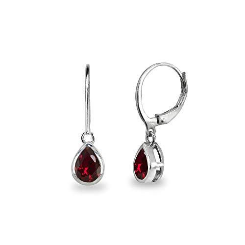 Sterling Silver Synthetic Ruby 7x5mm Teardrop Bezel-Set Dainty Dangle Leverback Earrings for Women, Teen Girls