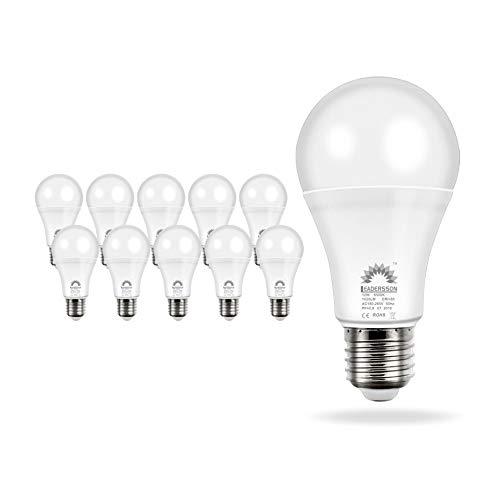 Pack de 10 Bombillas LED Bajo Consumo AVILA A60 · Lámpara LED 10W con 850 Lm · 4500K Blanco Neutro · Medidas: 60mm Ø x 108mm * INCLUYE 1 BOMBILLA DE REGALO [Clase energética: A+]