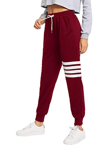 SweatyRocks Women's Pants Color Block Casual Tie Waist Yoga Jogger Pants Burgundy XXL