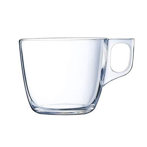 Luminarc Nuevo Set de tazas de vidrio, desayuno para café, aptas para microondas, 22 cl, juego de 6 unidades, Transparente