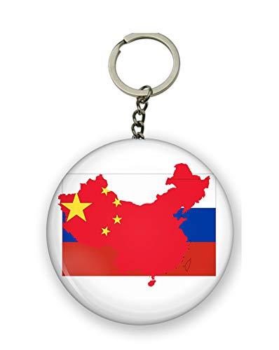 Gifts & Gadgets Co. Schlüsselanhänger mit chinesischer Flagge auf der Karte von Chine auf der russischen Flagge, 58 mm