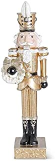 K&K Interiors 53815A 22 Inch Resin Gold and Black Nutcracker with White Wreath