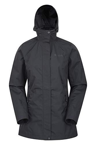 Mountain Warehouse Rainstorm wasserdichte Regenjacke für Damen - atmungsaktiver Regenmantel, mit verschweißten Nähten - ideal für nasses Wetter, Reisen und Wandern Schwarz 46