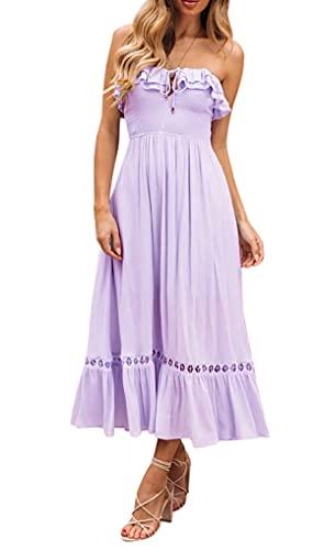 R.Vivimos Womens Summer Cotton Spaghetti Straps V-Neck Ruffle Casual Boho Midi Flowy Dress (X-Large, Lavender#2)