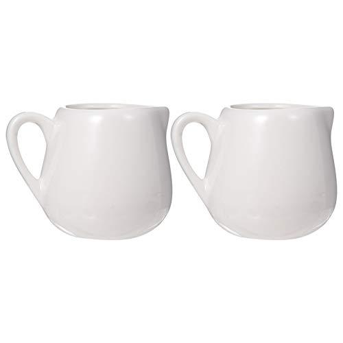 DOITOOL 2 piezas pequeñas de cerámica para cremas de café, té, jarra de leche, vertedor de cerámica, mini jarra de jarabe, salsa, dispensador de aderezo, regalo de inauguración de la casa