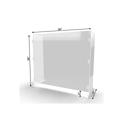 30x28x9-Inch Plexiglass Cashier Protection Guard, Cough & Sneeze Guard for Customers/Workers Protection, Sales Counter/Reception/Office Clear Barrier EA