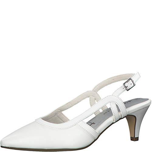 Tamaris Damen Pumps 29620-24, Frauen Sling-Pumps, Hochzeit heiraten Party Slingback modisch Fashion Damen Frauen weibliche Lady,White,39 EU / 5.5 UK