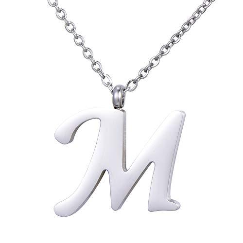 Morella Collar de Plata y Acero Inoxidable con Colgante Letra M
